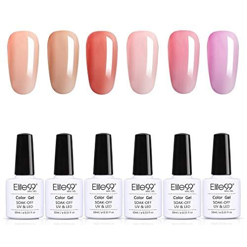 Elite99 Jelly Farben Nude Serie UV Nagellack Set Pudding Farben UV Gel Set Rosa LED Gellack Gel Polish UV LED Soak Off Gel Polish Gel Nagellack 5PCS Set 10ML 005