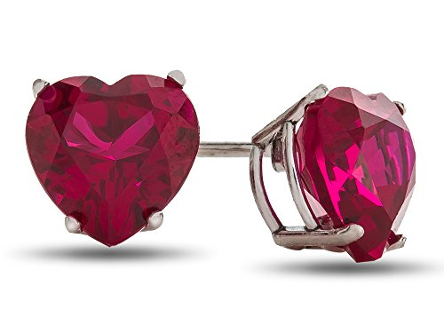 Finejewelers 7x7mm Heart Shaped Created Ruby Post-With-Friction-Back Stud Earrings 10 kt White Gold