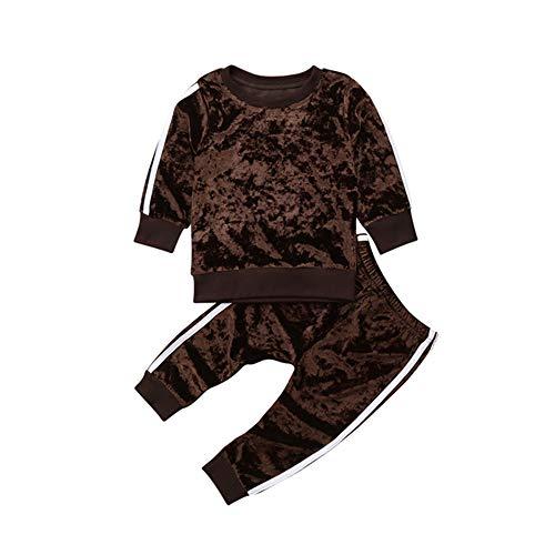 KBWL Kinderbekleidung Samt Langarm Pullover Shirt + Pants 2pcs Kleidung Anzug Herbst und Winter 1-5 t Kinder Mädchen Jungen Freizeitkleidung 2-3 Jahre Braun