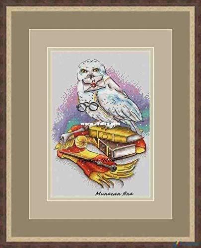 Hedwig, Harry Potter Messager - Juego de punto de cruz, hilo de algodón egipcio de 14 quilates, 102 x 135 puntos, 30 x 36 cm, kit de punto de cruz fácil y pequeño