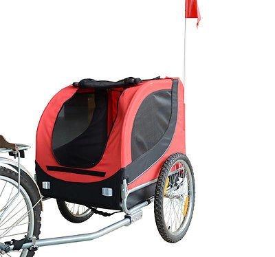 HOMCOM PawHut Remolque Bicicleta Perros Mascota 1 Bandera 6 Reflectores Remolque Bici Rojo Negro