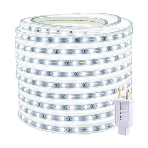 50ft Rope Lights Outdoor Waterproof White LED Strip Light Indoor Connectable Flexible 900 LEDs 6000K 110V Plug-in Decorative Tape Lighting for Patio Deck Bedroom Kitchen