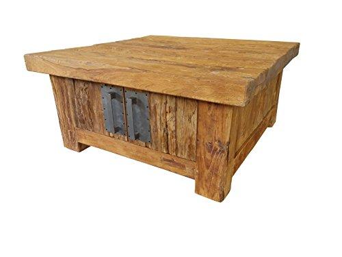 SIT-Möbel Coral 4494-01 Couchtischtruhe mit 4 Türen, recyceltes Teakholz, braun, 85 x 85 x 40 cm