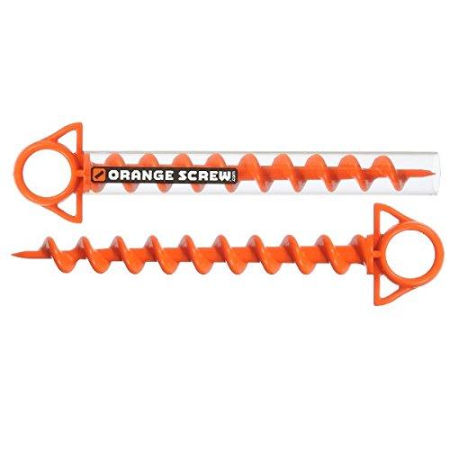 Orange Screw: Der ultimative Bodenanker, groß, 2 Stück, hergestellt in den USA (orange)