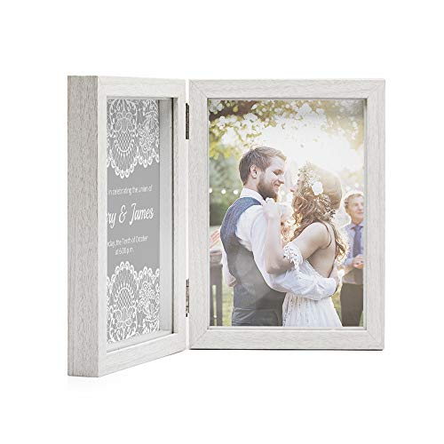 Afuly Double Picture Frame 5x7 White Wooden Hinged Photo Frames Collage Shadow Box 2 Openings Elegant Wedding Unique Gifts for Couple