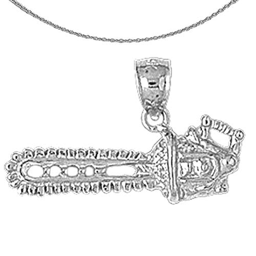 Jewels Obsession Gold Chain Saw Necklace | 14K White Gold Chain Saw Pendant with 18