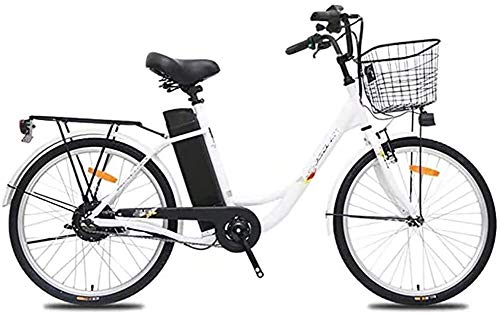 PARTAS Sightseeing/Commuting Tool - Erwachsene Elektro-Fahrrad, High-Carbon Steel 24 Zoll 250W 36V 10.4Ah Herausnehmbare Batterie Fahrrad Ebike (Color : White)