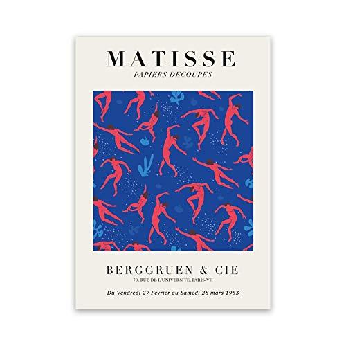 Carteles e impresiones de la exposición de Henri Matisse, cuadro de arte de pared azul, pintura de lienzo sin marco de la familia del cuerpo azul A3 60x80cm