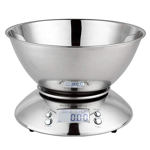 Báscula de cocina digital LCD para cocinar hornear, multifunción, de acero inoxidable, con función de tara extraíble
