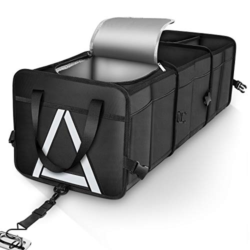 HAOKAY Durable Car Trunk Organizer with Premium insulation cooler bag,Sturdy Collapsible Trunk Storage Organizer, Multi Compartments with Reflective Strip