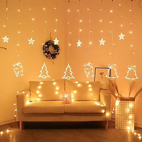 LLDE Cortina de luces LED para Navidad, decoración de estrellas, árboles, ciervos y campanas, cuerda de luz de inicio deocrativa para ventana, decoración de Navidad, boda, jardín