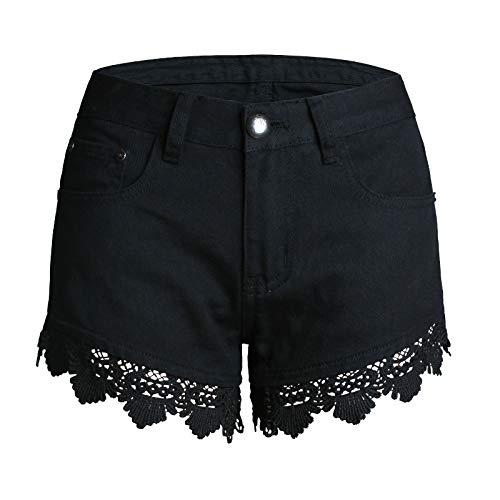 Pantalones Vaqueros de Mujer de Moda de Verano de Cintura Media de Color sólido Sexy Pantalones Cortos de Pierna Ancha con Costuras de Encaje Hueco con Bolsillos 3XL
