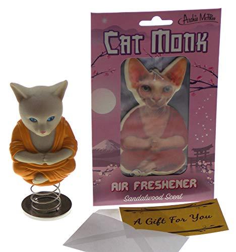 Dashboard Cat Buddha Bundled with Cat Monk Air Freshener & A Gift Card