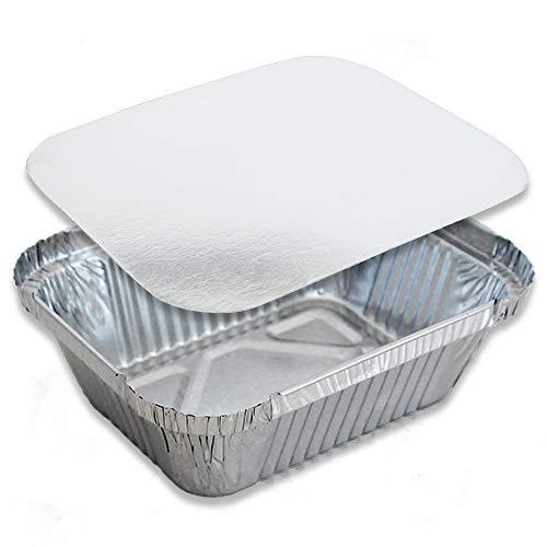 Miamex - Vaschette in alluminio usa e getta con coperchio per trasporto di cibo, congelamento, cottura (Confezione da 100), 1 compartiment Metallo, 800ml