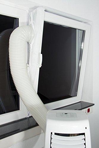 Fensterabdichtung /-Lock /-Luftvorhang /-Schleuse für mobile Klimageräte, Entfeuchter oder Ablufttrockner an alle Fensteröffnungen an Dach und Wand - hot air stop