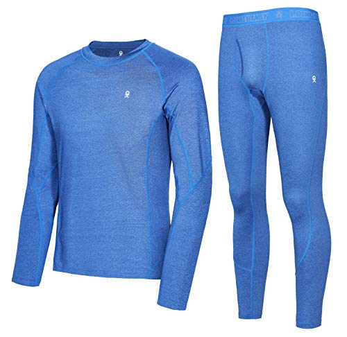 Little Donkey Andy Men's Thermal Underwear Set Performance Base Layer Wicking Active Long Johns Top & Bottom with Fly Blue S