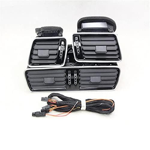 AIOFOGXC Black Chrome Piano Paint Tablero de Control Vents Boquilla de Aire Aire Acondicionado Aire Acondicionado Ventilación/Ajuste para Passat CC B6 B7 (Color : Black)