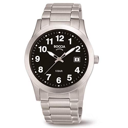 Boccia Herren Analog Quarz Uhr mit Titan Armband 3619-03