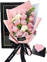ソープフラワー プレゼント 母の日 バレンタインデー 誕生日 黒外箱+黒リボン Kiranic 造花 ブーケ 枯れない花 石鹸花 記念日 開店祝い 結婚祝い お見舞い 敬老の日 ギフト ボックス ピンクバラ メッセージカード付き
