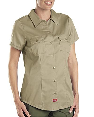 Dickies Women's Short-Sleeve Work Shirt, Khaki, Medium