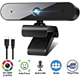1080P Webcam for PC Laptop Desktop, 360-Degree Rotation Streaming Webcam with Microphone, Computer Video...