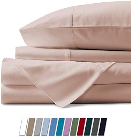 1000 Thread Count Sheet Set Queen Size Blush 100% Egyptian Cotton 4 Piece Sheets & Pillowcase Set 17 Inch Extra Deep Pocket Fitted Sheet Flat Bedsheet 2 Pillow Cases Solid Hotel Luxury Sheets