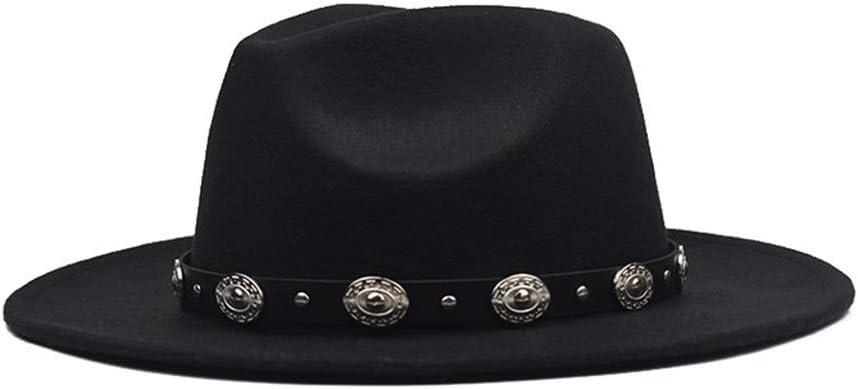 HXGAZXJQ Fashion Men Women Fedora Hat with Punk Belt Wool Hat Wide Brim Hat Outdoor Party Hat Size 56-59CM (Color : Black, Size : 56-59)