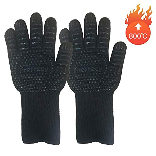 Fretrecy Grillhandschuhe 800°C/1472℉ Ofenhandschuhe BBQ Handschuhe Hitzebeständige Küchenhandschuhe Backhandschuhe Topfhandschuhe Kochhandschuhe für Küche & Grill Kochen Backen Schweißen (Schwarz)