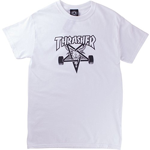 Thrasher Skate Goat T-Shirt Manches Courtes Blanc S, 100% Coton, Coupe Standard