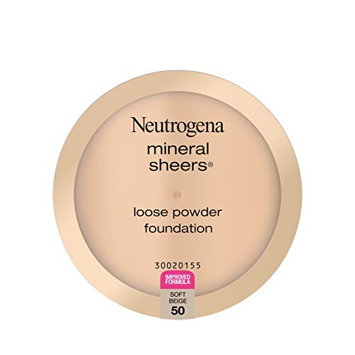Neutrogena Mineral Sheers Lightweight Loose Powder Makeup Foundation with Vitamins A, C, & E, Sheer to Medium Buildable Coverage, Skin Tone Enhancer, Face Redness Reducer, Soft Beige 50,.19 oz