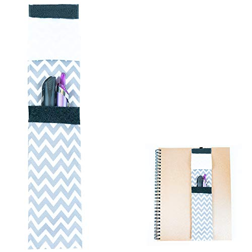 Bookmark Elastic Pen Holder. Planner or Textbook Ribbon Band in Gray Chevron Color. (1 Pack)