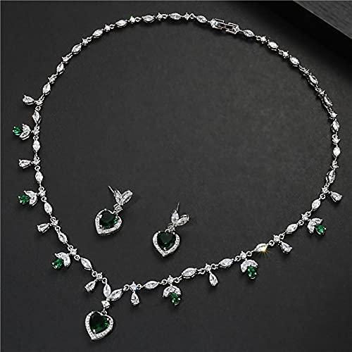yuge Conjunto de joyería de moda de la boda, collar en forma de corazón de plata 925, pendientes de la gota pulsera, regalo de la joyería del partido verde