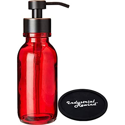 red hand soap pump