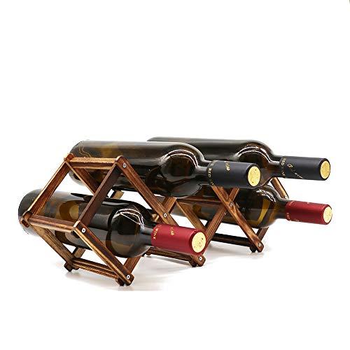 Holz-Weinregal, kleiner Weinflaschenständer, freistehend, zusammenklappbar, Holzregal, Tisch-Organizer – karbonisiertes Holz, 5 Schlitze
