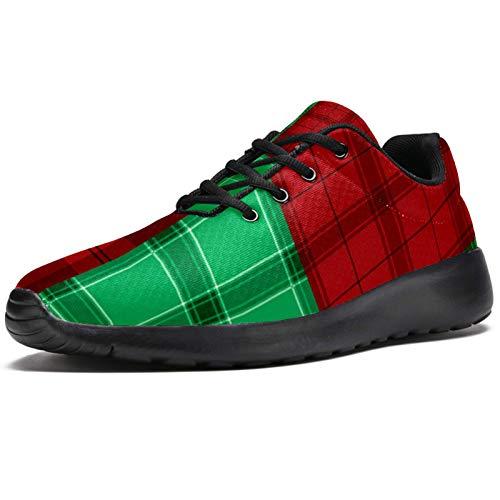 Bennigiry Vector de Textura de Tela Escocesa Verde Rojo de Franela Athletic Trainers Zapatillas Ligeras Calzado Deportivo para Mujer