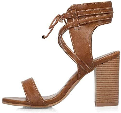 Lydee Damen Classic Ankle Strap Sandalen Blockabsatzs Gladiator Sommerschuhe Party Footwear Brown Gr 37