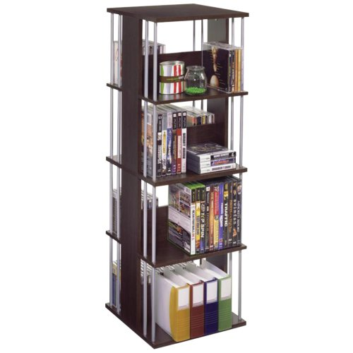 Atlantic Typhoon Media Spinner Unit - Fully Rotates 360 Degrees on a Ball Bearing Base, Holds 216 CDs, 144 DVDs, 4 Fixed Shelves, PN82635716 in, Espresso/Silver, accessory
