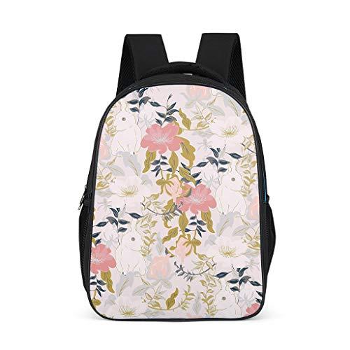 Mochila conejos animales flores plantas diseño librero ligero mochila casual bolsa para niños niñas, color, talla Talla única