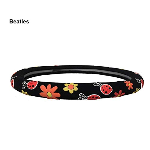 LLTT 3 Farben Lenkradbezüge Mädchen Blumen Beatles Schmetterling Diam 38cm Auto Lenkradbezug Colour (Color Name : Beatles)