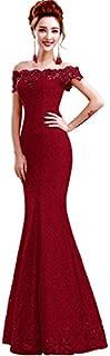 Babyonline Off Shoulder lace red Mermaid Evening Formal Bridesmaid Dress