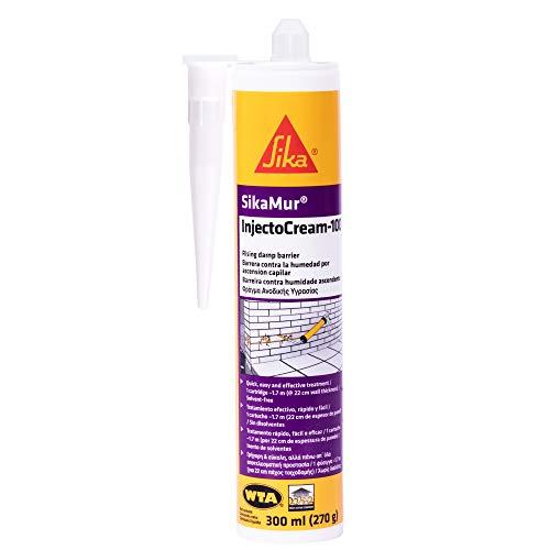 SikaMur InjectoCream 100, Tratamiento contra la humedad en las paredes, 300ml, Blanco