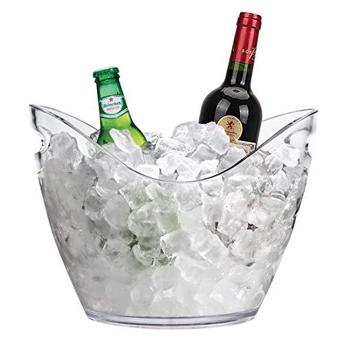 YOBANSA 3.5L Eis Eimer,Eiskübel aus Kunststoff,Champagner Eiskübel,Wein Eis Eimer,Obst- und Gemüse behälter (clear)