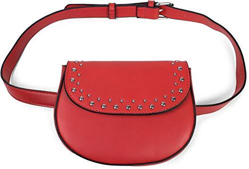 styleBREAKER Bolso de Bandolera Multifuncional de Mujer y riñonera con Remaches y Cremallera, Bolso de Hombro 02012284, Color:Rojo