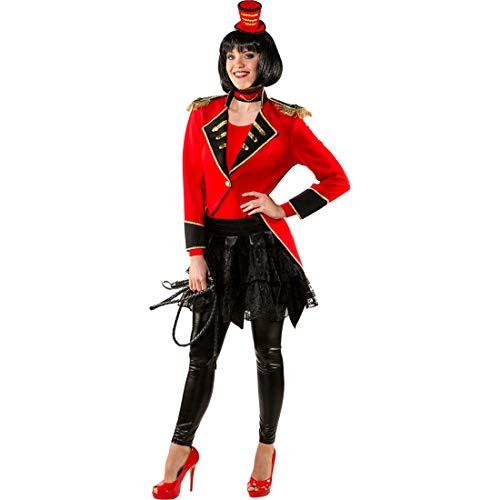 NET TOYS Eleganter Frack für Damen Dompteuse | Rot-Schwarz in Größe 46/48 (L/XL) | Edle Frauen-Verkleidung Zirkus-Direktorin | Passend gekleidet für Karneval & Fasnacht