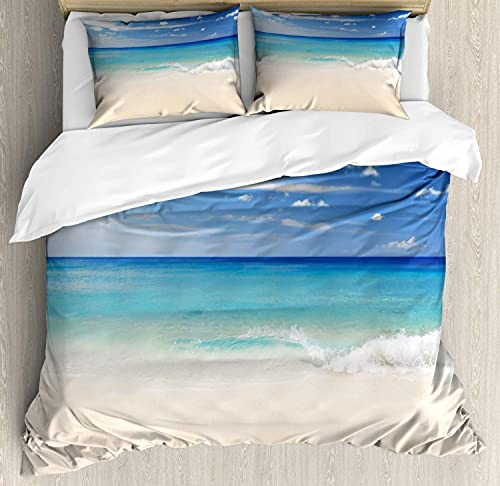 Ocean Duvet Cover Set, Tropic Coast Style Sandy Shore and Sea Waves Escape to Paradise Theme, Dekorative 3 Piece Bedding Set mit 2 Pillows, California King, Cream Turquoise