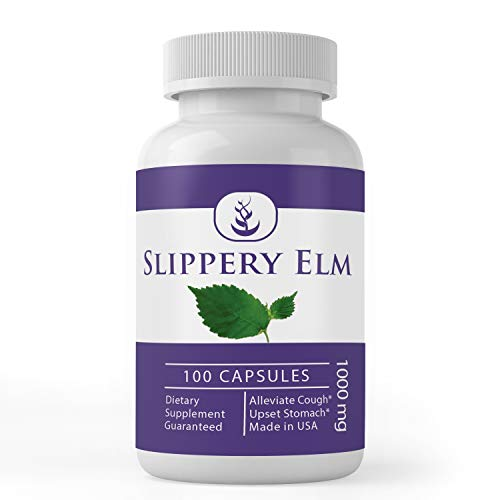 Slippery Elm Powder (100 Capsules, 1000 mg Serving) 100% Pure & Natural, Gluten-Free Indigestion Relief*