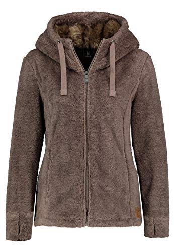 Sublevel Damen Fleece-Jacke mit Kunstfell & Teddy-Fleece Brown XS