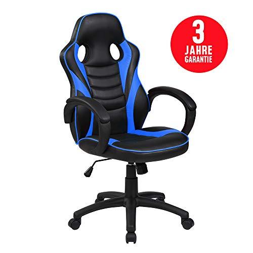 Inova Design Gaming Stuhl Bequemster Gaming Sessel PC Stuhl Ergonomisch verstellbar Gaming Chair mit Wippfunktion Bürostuhl Schreibtischstuhl Gaming Drehstuhl Zocker Stuhl BLAU Galli