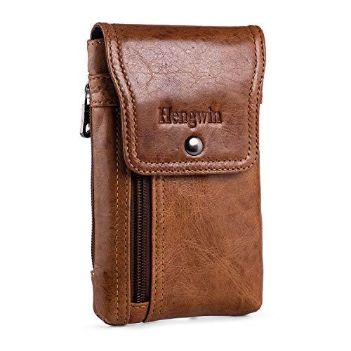 Hengwin Herren Gürteltasche Holster iPhone 12 11 Pro XS Max SE XR X XS 7 8 6S Plus, Leder Handytasche Guerteltasche für Samsung Galaxy A72 A52 5G S21 Ultra 5G A12 A32 F12 A32 5G A51 (Braun)