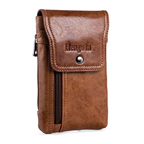 Hengwin Piel Genuina Funda Movil Cinturon Bolsa Cintura Hombre Vertical Funda Para Cinturon Funda Movil Magnetica Bolsitos Para Hombre Para Iphone 11 Pro Max XS XR 8 7 6S Plus Samsung S20+ Note 10+